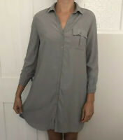 Topshop Women Dress Size 8 Grey Shirt Utility Chore 3/4 Sleeve Button Down Mini
