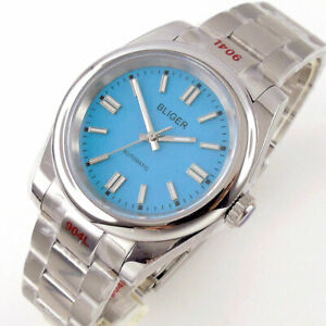 36mm BLIGER orange blue silver  dial sapphire glass miyota automatic mens watch