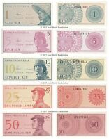 Indonesia 1 + 5 + 10 + 25 + 50 Sen 1964 Full Set of 5 Banknotes 5 PCS UNC
