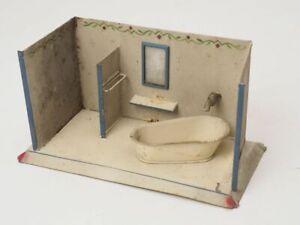 Puppenstube Badezimmer Bad Badewanne Spiegel Handtuchhalter Blech