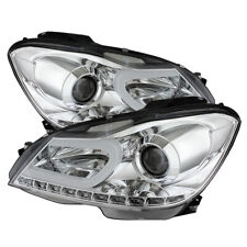 Mercedes Benz 12-14 W204 C-Class Chrome DRL LED Projector Headlights Strip Style
