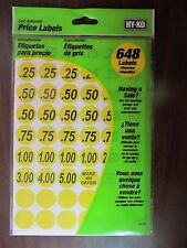 "Hy-Ko Price Labels Yellow 3/4"" Garage Sale, Yard Sale 648 Labels New # 30103"