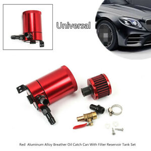 Aluminum Alloy Breather System Oil Catch Can Red With Filter Reservoir Tank Set
