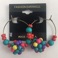 Vintage Beaded Cluster Hoop Earrings Wooden Colorful Boho Pierced NOS 80s 90s