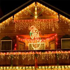 LED Eisregen Lichterkette Eiszapfen Außenbereich Vorhang 20M 600 LEDs Warmweiß