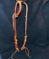 Vaquero Large Horse Dotted Steel Harness Leather Slip Ear Quick Change Headstall