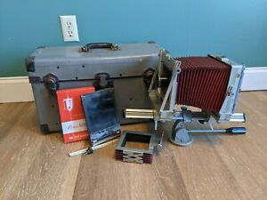 Graflex Graphic View 4x5 Large Format Monorail Field Camera W/ Case & Extras