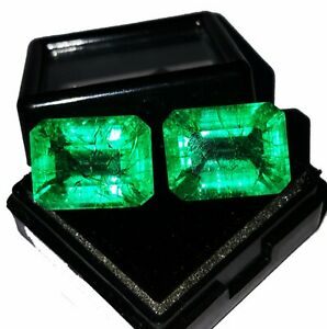 Loose Gemstone Natural Emerald 8 to 10 cts Certified Emerald Shape Pair Z139
