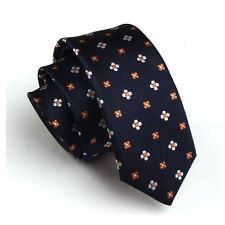 Fashion Navy Orange  Floral  Wedding Neck Tie Necktie Narrow Slim Skinny SK287
