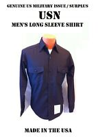 14.5 x 34 US NAVY SHIRT MEN'S LONG SLEEVE BLACK WINTER BLUE JOHNNY CASH UNIFORM