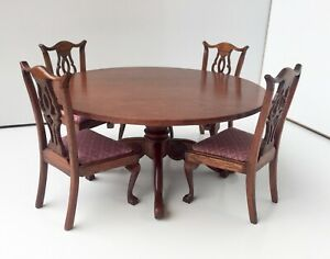 ARTISAN DAVID BOOTH RARE ROUND DINING TABLE CHIPPENDALE DOLLS HOUSE DOLLHOUSE