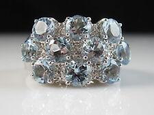 14K Aquamarine Diamond Ring Sonia B. Bitton White Gold Aqua Fine 4.14ctw Size 7