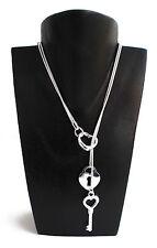 "925 Silver Locket, Heart & Key 20"" Snake Chain & Free Jewellery Box"