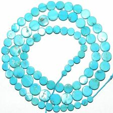 T420 Sleeping Beauty Blue Turquoise 3mm - 7mm Graduated Flat Round Coin Bead 17""