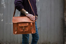 Leather Bag Real Men Laptop S Briefcase Vintage Messenger Shoulder New Brown New