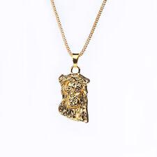 Charm Men Boy Hip Hop Necklace Long Gold Necklace Jesus Piece Pendant Chain New