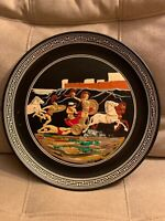 Rare ACHILLES DRAGGING HECTOR'S CORPSE IN FRONT OF TROY Handmade Clay Plate VTG