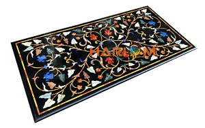 4'x2' Black Marble Dining Table Top Floral Marquetry Handicraft Hallway Art B261