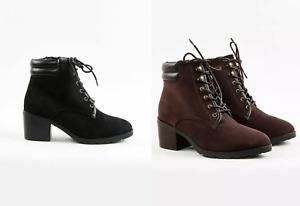 EX EVANS EXTRA WIDE FIT (EEE)Block Heel Hiker Boots Memory Foam Ankle Boots Plus