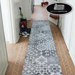 Modern Thick Runner Hall Grey Maiolica Lisboa Corridor Width 50-200 CM Rugs