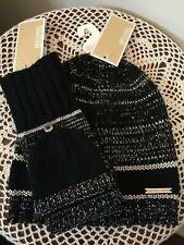 NWT Michael Kors LOGO Womens Black Metallic Silver Hat & Hooded Mittens $86