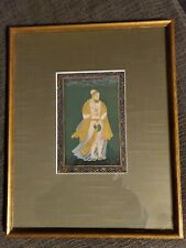Antique Indian Mughal Miniature Painting Emperor  Gold Illuminated