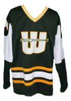 Custom Name # New England Whalers Retro Hockey Jersey Green Gordie Howe Any Size
