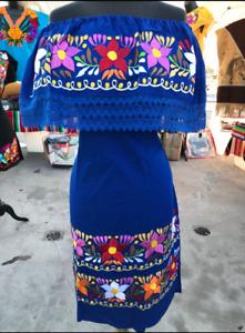 Mexican Fiesta Embroidered Dress OFF the Shoulder Vestido Mexicano Bordado