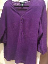 Plus Size 22 Ralph Lauren Jumper Purple V Neck With Button Design