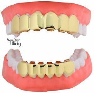 Parrillas con dientes Oro 14k chapado personalizado Set superior e inferior Moda