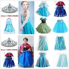 NWT FROZEN Princess Anna Elsa Cosplay disfraz vestido fiesta 2-10 años +corona