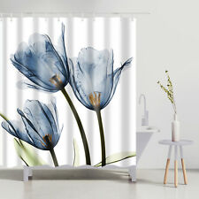 Bathroom Shower Curtain Decor Set Tulip Flowers Design Bath Curtains 12 hooks