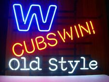 "Chicago Cubs Old Style Win Neon Lamp Sign 20""x16"" Bar Light Beer Display Decor"