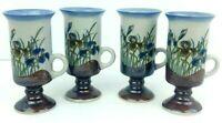 4 Stoneware Mugs Irish Coffee Brown Blue Iris Flower Tea Mid-Century Decor