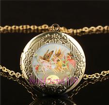 Fairy Concert Photo Cabochon Glass Gold Plating Locket Pendant Necklace