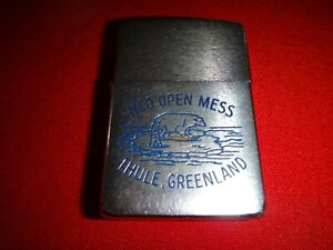 Vintage Year 1960 Brushed Chrome Zippo Lighter NCO OPEN MESS THULE, GREENLAND