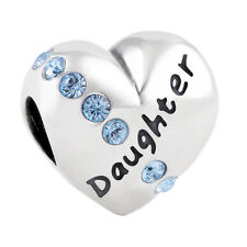 💖 DAUGHTER HEART Genuine S925 Sterling Silver Charm Bead Fits European Bracelet