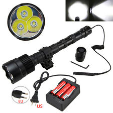 3800Lm CREE T6 LED Tactical Hunting Flashlight Torch Mount Light Rifle Lamp Set