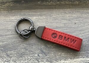 NEW BMW LOGO KEYCHAIN/KEYRING RED SUEDE LEATHER