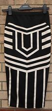 MISSI BLACK WHITE BANDAGE ABSTRACT BAROQUE PENCIL TUBE BODYCON SKIRT 8 S