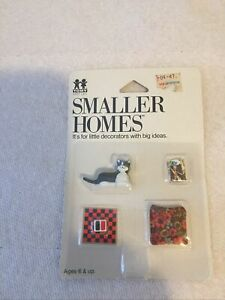 VINTAGE TOMY, Lundby scale Checkers, Cat, Magazine & Pillow set  Rare! MIP