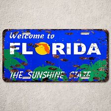 LP0056 Wecome to Florida Sign Rust Vintage Auto License Plate Home Store Decor