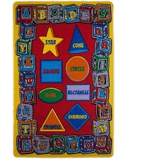Kids Children Rug Abc & Shapes Educational 5' x 7' Non Skid Area Rug
