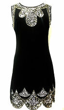 BNWT Black Gatsby Dress Tunic Top Evening 1920's Shift Dress Size 8-24