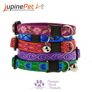 Lupine Cat Collar 12mm Wide with Bell and Safety Release Buckle - Asst Patterns