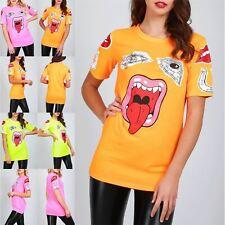 Ladies Womens Round Neck Monster Eyes Lips Short Sleeve Oversized Basic T-Shirt