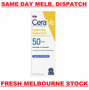 CeraVe Hydrating Mineral Face Sunscreen SPF50 Lightweight Lotion 75mL BRAND NEW