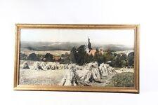 bel âge Cadre Photo En Bois Verre Cadre avec Tableau Paysage église Village