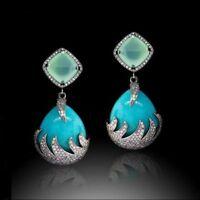 Antique Silver Turquoise Gemstone Ear Stud Dangle Hook Retro Earrings Engagement