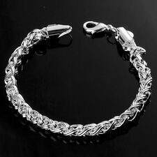 """HOT 925 Sterling Silver Plated Fashion Charm""""Serial Buckle""""Chain Bracelet Bangle"""